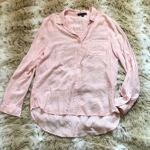 Velvet Heart High Low Pink Striped Button Down M